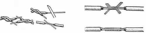 Зняття ізоляції і скручування кінців проводів